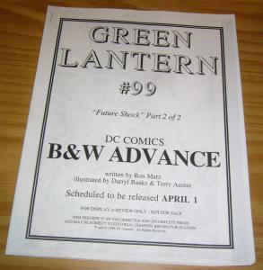 Green Lantern #99 VF/NM rare b&w advance - ron marz - dc comics 1998