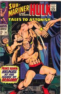 Tales to Astonish #94 (Aug-67) VF High-Grade Incredible Hulk, Namor