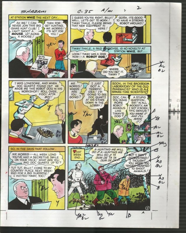 Hand Painted Color Guide-Capt Marvel-Shazam-C35-1975-DC-page #2-robot-VG/FN