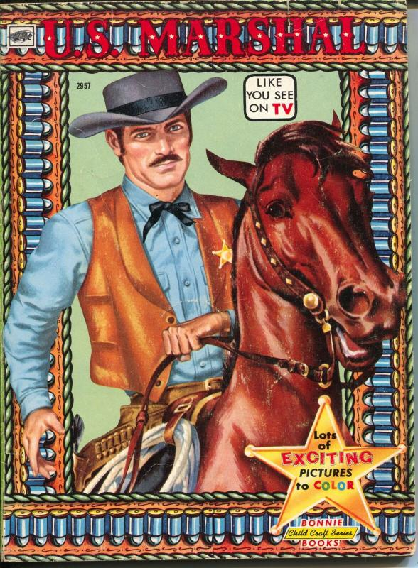 U.S. Marshall Coloring Book 2957 1958-TV series-Wyatt Earp-Doc Holiday-Custer-VG