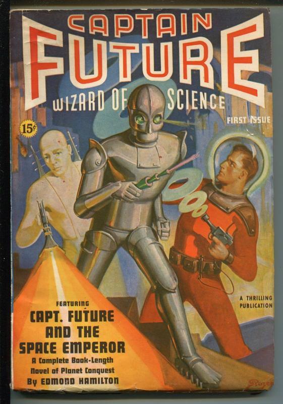 Captain Future -Winter 1940-1st issue-robot cover-Rozen-pulp sci-fi-VF