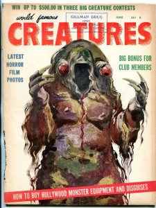 World Famous Creatures #4 June 1959- rare monster magazine- Frankenstein f/g