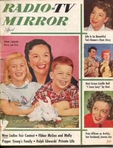 Radio And Television Mirror-Desi Arnaz-Lucille Ball-Fibber McGee-Apr-1952