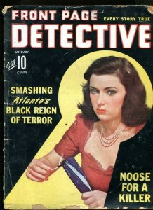 FRONT PAGE DETECTIVE-01/1943-JIGGER OF CYANIDE-SILVER MASK-TABLOID-MUDER JA G