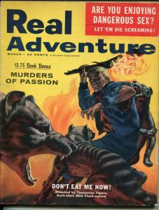 Real Adventure 3/1956-Hillman-moonshine-RCMP- cheesecake-pulp violence-G