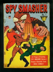 SPY SMASHER #1-1941--SILVER METALLIC COVER -FAWCETT WW2 G/VG