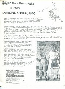 Edgar Rice Burroughs News Dateline #3 4/6/1980-Tarzan-fanzine-newsletter-FN