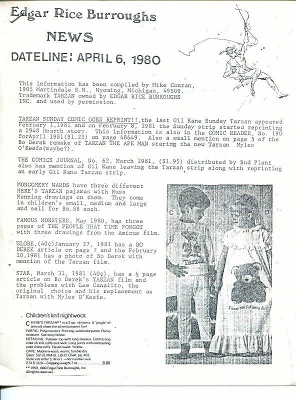 Edgar Rice Burroughs News Dateline #3 4/6/1980-Tarzan-fanzine-newsletter-FN