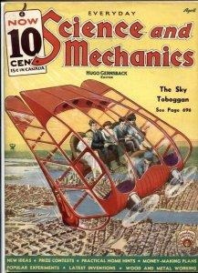 Everyday Science & Mechanics 4/1935-Frank R Paul- Sky Toboggan
