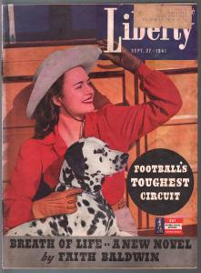 Liberty 9/27/1941-babe & Dalmatian cover-Faith Baldwin pulp fiction-Hitler-VG