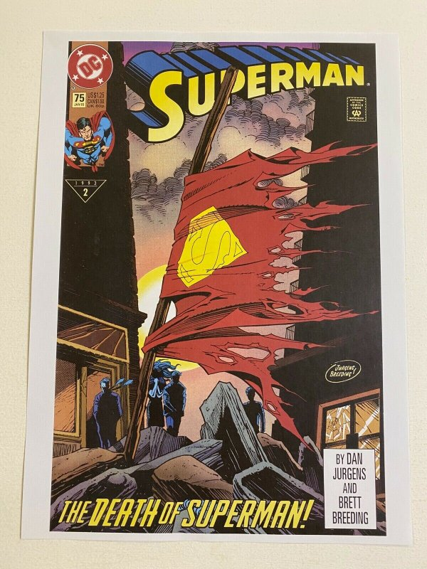 The Death of Superman #75 DC Comics poster by Dan Jurgens