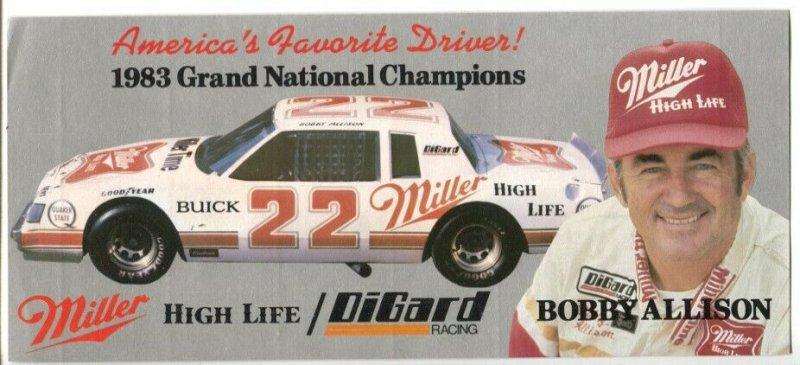 Bobby Allison #27 Miller High Life Buick NASCAR Bumper Sticker 1983-vintage-unus