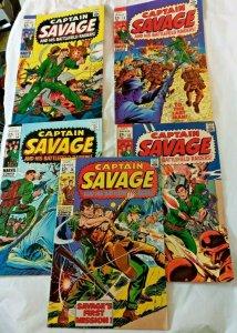 LOT 5 CAPTAIN SAVAGE & HIS BATTLEFIELD RAIDERS 9 10 11 13 14 MARVEL 1968 VG FN+