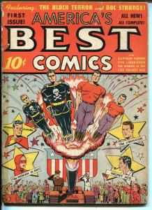 AMERICA'S BEST #1 1941-NEDOR-1ST ISSUE-BLACK TERROR-SECRET ACE-DOC STRANGE-g/vg