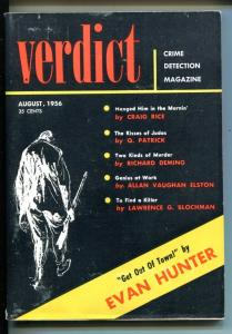 VERDICT #1 08/1956-SECRET LIFE-RARE CRIME PULP-BLOCKMAN-RICE-HUNTER-1ST ISSUE-fn