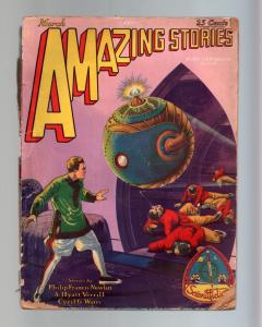 AMAZING STORIES-MAR 1929-1ST BUCK ROGERS CVR APPEARANCE FR/G