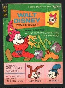 Walt Disney Comics Digest #29 1971-Sorcerer's Apprentice-Fantasia-Carl Barks-...