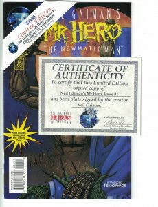 Mr. Hero - The Newmatic Man #1 VF plate signed by Neil Gaiman - limited w/COA