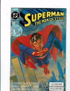 Lot of 3 Superman: The Man of Steel DC Comic Books #1 2 5 TW44