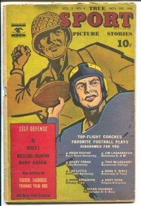 True Sport Picture Stories Vol. 3 #4 1945-WWII cover-Navy sports-football plays-