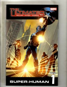 Lot Of 2 Ultimates Marvel TPB Graphic Novel Comic Books # 1 & 2 Super Human HR8