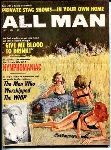 ALL MAN-11/1963-STANLEY PUBS-NAZI-TERROR-PULP-EXPLOITATION wild!