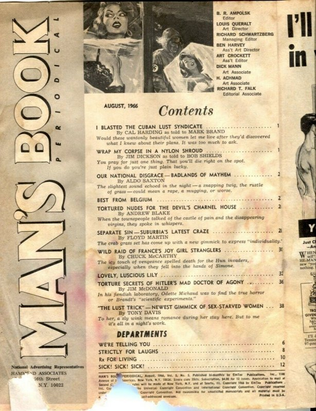 Man's Book August 1965- Torture Secrets of Hitler's Mad Doctor