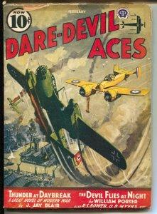 Dare-Devil Aces 2/1941-WWII German bomber cover-violent war pulp- VG+