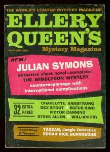 ELLERY QUEEN'S MYSTERY PULP-MAY 1964-TARZAN-REX STOUT- FN
