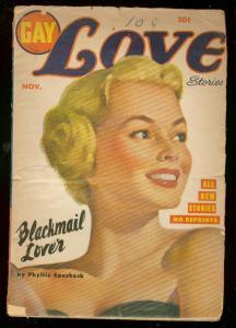 GAY LOVE STORIES PULP NOV 1951-BLACKMAIL LOVER PIN-UP G/VG