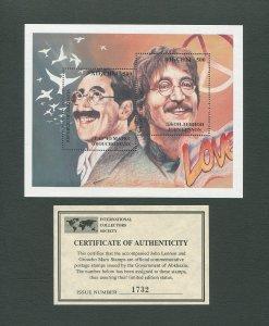 John Lennon Commemorative Abkhazia Stamp Sheet  1995