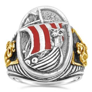 Viking Dragon ship ring