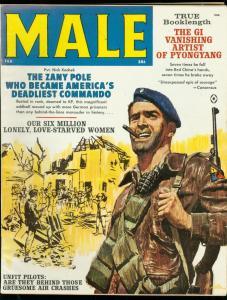 MALE MAGAZINE FEB 1962-KUNSTLER COVER-PYONGYANG-WW II VF