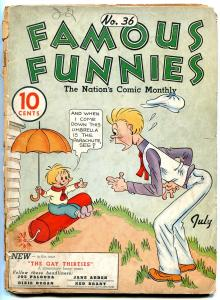 Famous Funnies #36 1937- Buck Rogers- Early Comic- Alley Oop LOW GRADE