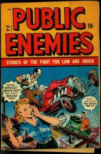 Public Enemies #7 1949- Midget auto race crash- McWilliams VG