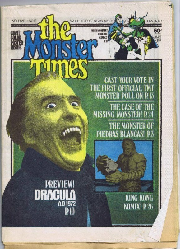 ORIGINAL Vintage 1972 The Monster Times Horror Newspaper Magazine #18 Dracula