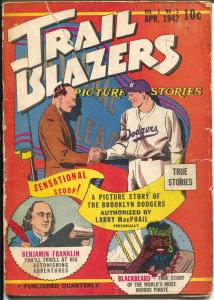 Trail Blazers Picture Stories #2 1942-Brooklyn dodgers-Ben Franklin-Blackbeard-G
