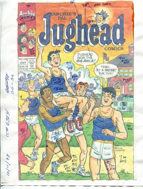 Jughead Comics #118 Hand Painted Cover Color Guide 1998-Archie-Lindsay-FN