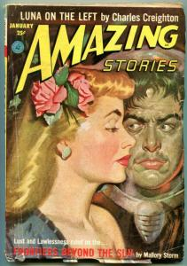 Amazing Stories Pulp January 1953- Frontiers Beyond the Sun- Luna on the Left