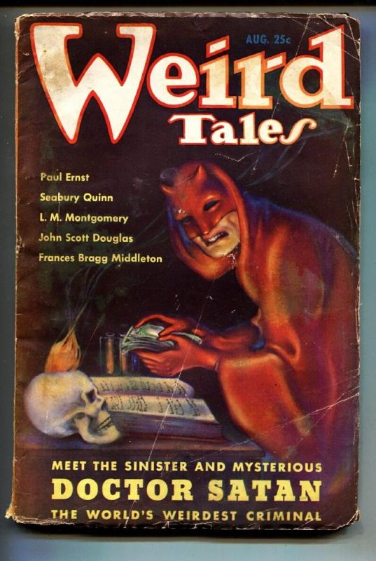Weird Tales August 1935- Brundage cover- 1st DOCTOR SATAN-Pulp Magazine