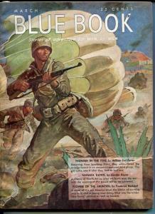 BLUE BOOK PULP-MARCH 1943-FN-STOOPS COVER-BEDFORD-JONES-NELSON BOND-KEYNE FN
