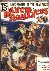 RANCH ROMANCES 2nd  AUG 1936-Warner PUBS-WESTERN PULP FICTION-RARE