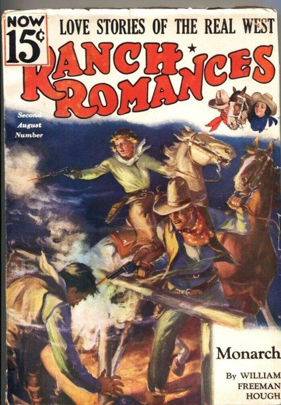 RANCH ROMANCES 2nd  AUG 1936-Warner PUBS-WESTERN PULP FICTION-RARE