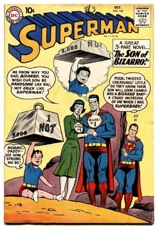 SUPERMAN #140 1960-BIZARRO COVER-DC COMICS-SUPERGIRL FN