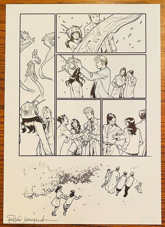 DOCTOR WHO 10th DR (DAVID TENNANT) COMIC PANEL ART SIGNED by ELENA CASAGRANDE