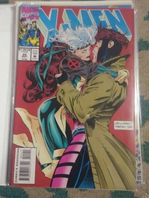 X men # 24 1993 marvel mutants rogue and gambit kiss JUBILEE