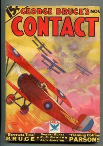 GEORGE BRUCE'S CONTACT 12/1933-WWI AVIATION-BI-PLANE-FADED SPINE-FRANDZEN-vg