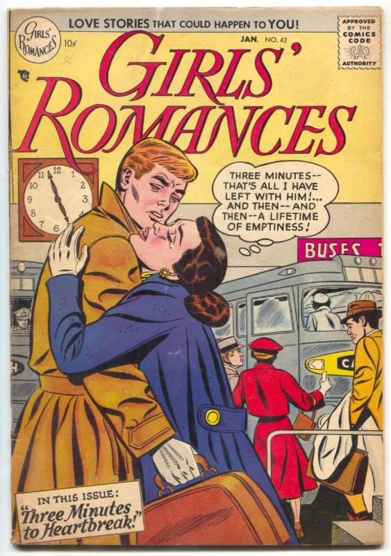 GIRLS' ROMANCES #42 1957-DC Romance-heartbreak FN-