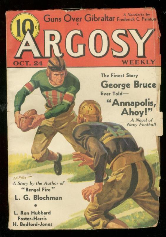 ARGOSY OCT 24 1936-L RON HUBBARD-FOOTBALL COVER-PULP VG