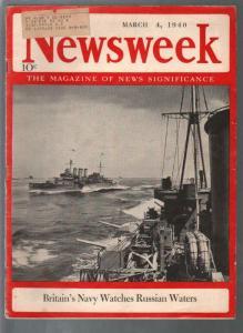 Newsweek 3/4/1940-British Navy-Huey Long-Mein Kampf-Hitler-VG